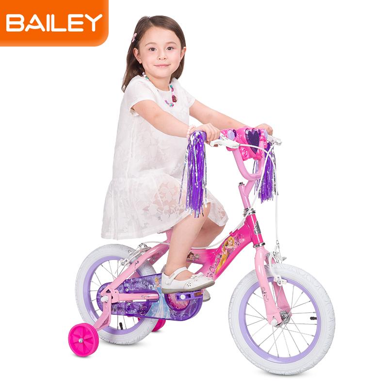 贝乐童车迪士尼系列公主发光盒自行车12寸 浅蓝色