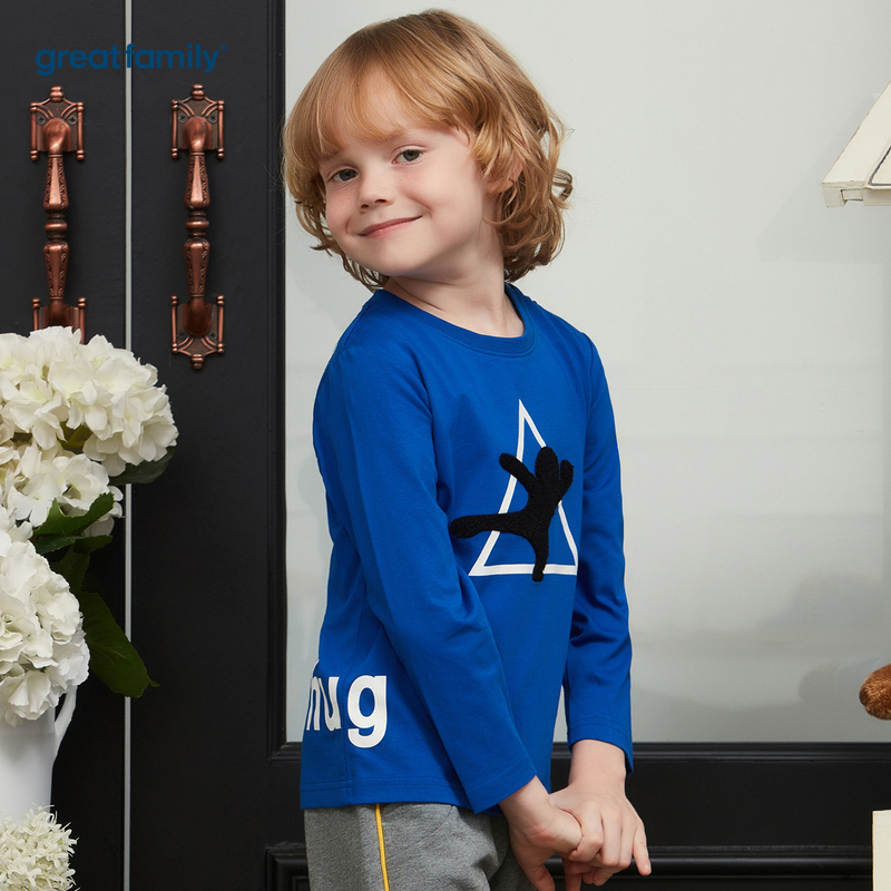 歌瑞家A类可爱精灵蓝色男长袖T恤