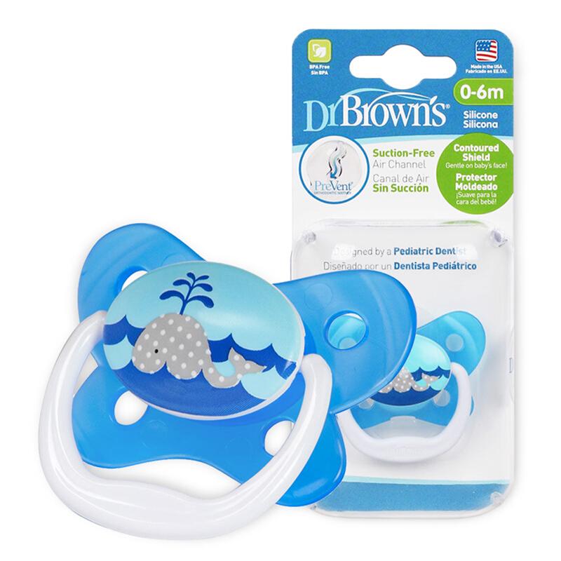 布朗博士DrBrown's蝴蝶形舒适安抚奶嘴0-6个月蓝色