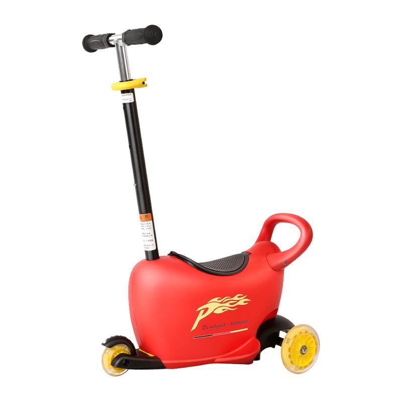 Pouch儿童三轮车多功能推车踏板闪光宝宝滑滑车溜溜车3-5岁 红色