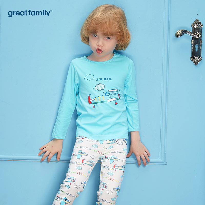 歌瑞家(Greatfamily)A类男童蓝色印花圆领长袖内衣/家居服