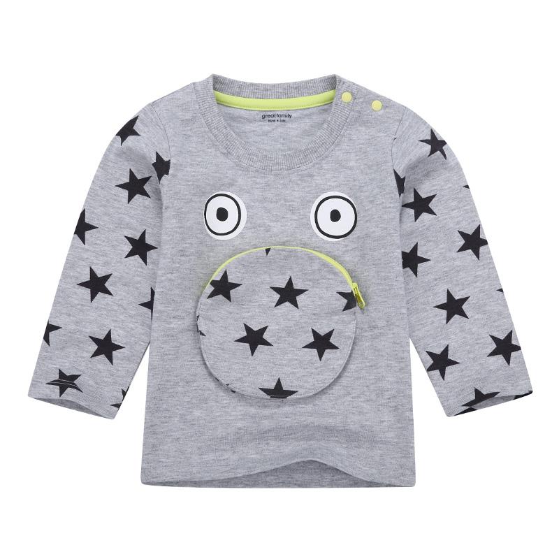 歌瑞家A类纯棉男宝灰色星星印花T恤