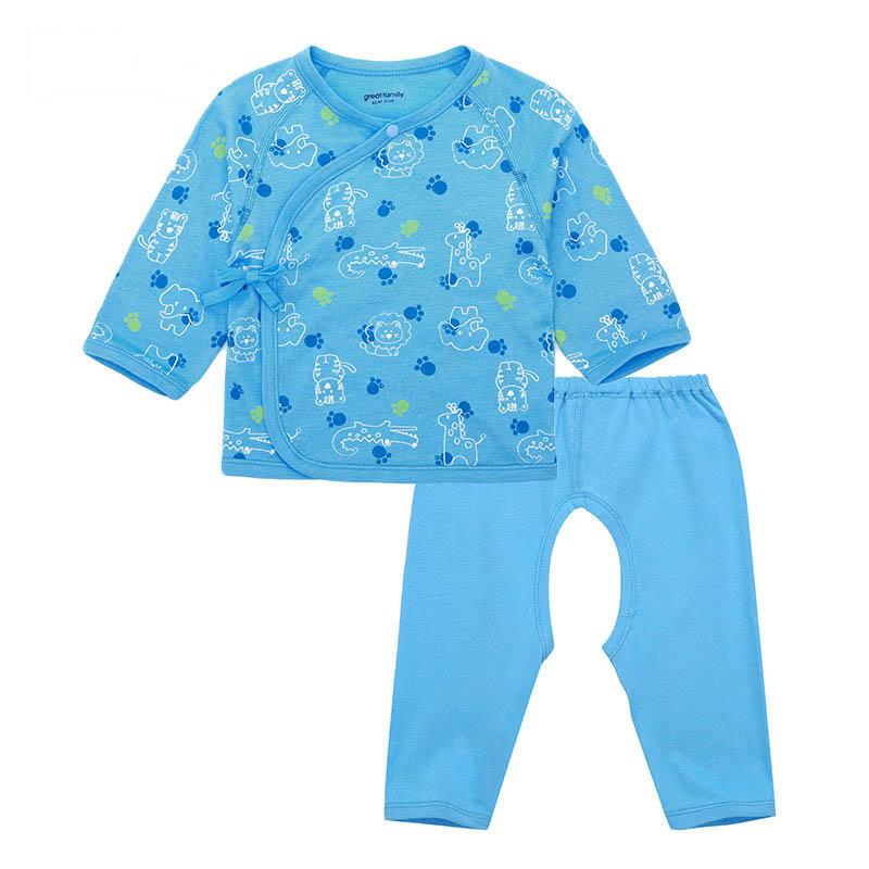 歌瑞家A类男宝宝蓝色竹纤维和短袍套装