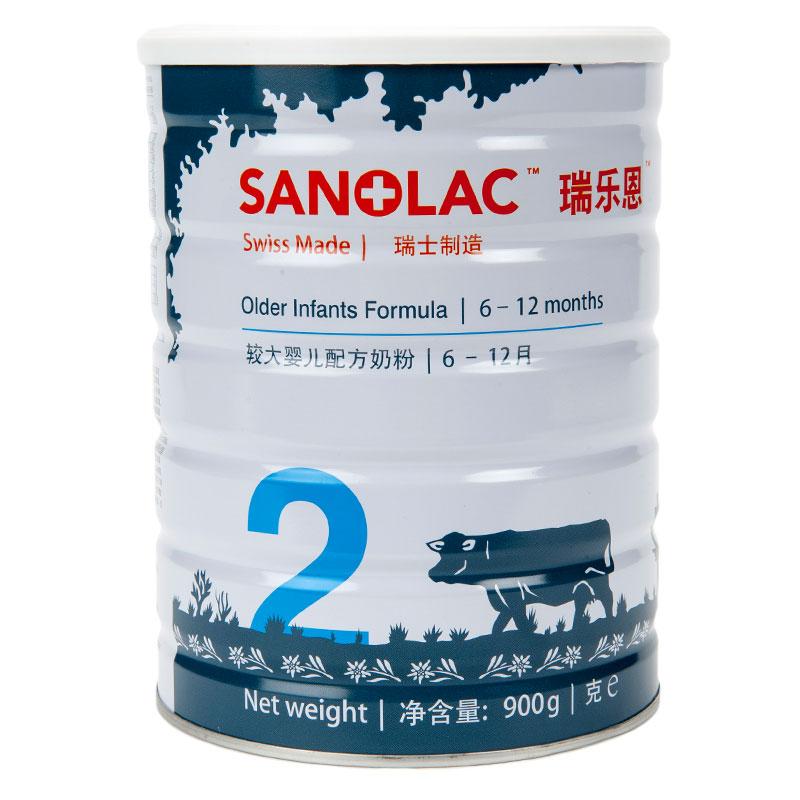 瑞乐恩Sanolac金装2段较大婴儿配方奶粉6至12个月900g原装进口