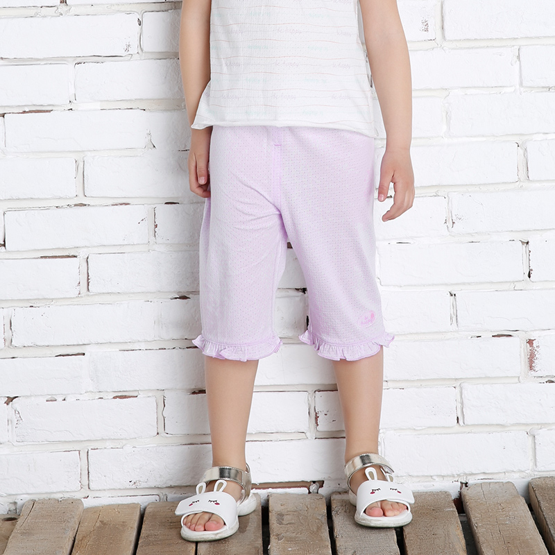 歌瑞家greatfamilyA类女紫色单面提花布七分裤