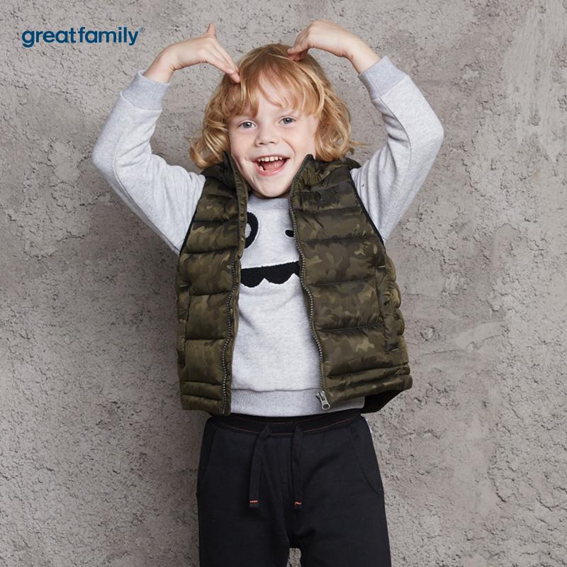 歌瑞家(Greatfamily)A类男童混色迷彩花型连帽棉马甲