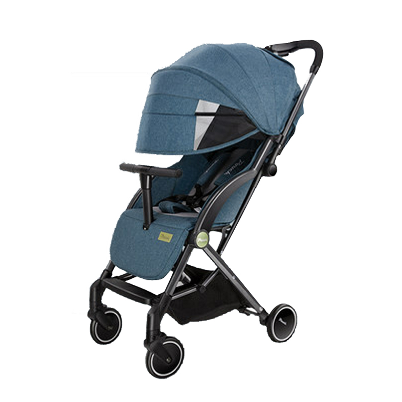 Pouch婴儿车推车可坐可躺折叠拉杆伞车全篷透气便携轻便儿童推车牛仔布(黑管)