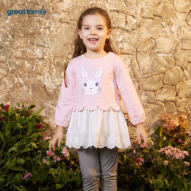 歌瑞凯儿(新)A类可爱精灵粉色女童拼接连衣裙