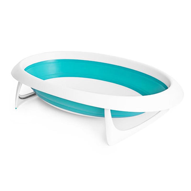 Boon啵儿 可折叠婴儿浴盆 蓝色/白色  0-18M4