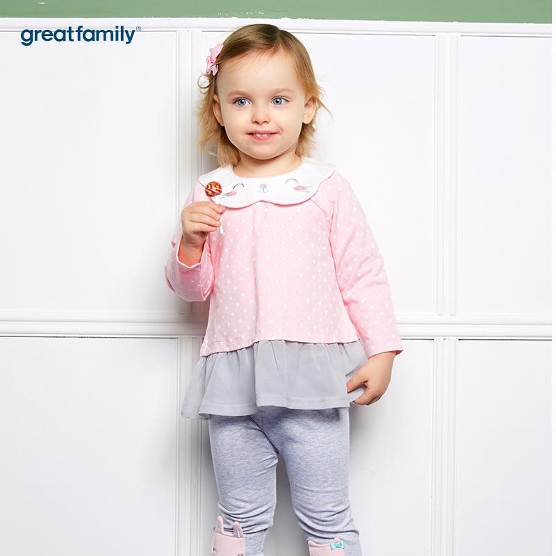 歌瑞家(婴外)A类萌动精灵粉色女卡通领T恤