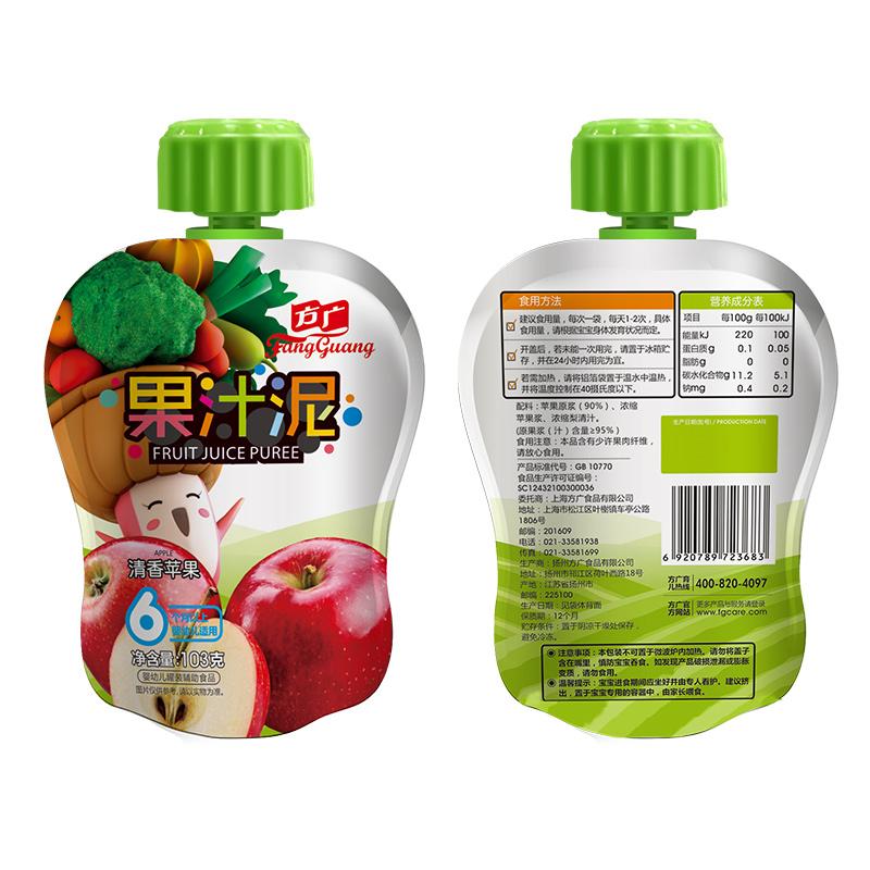 方广清香苹果果汁泥袋装103g6月以上