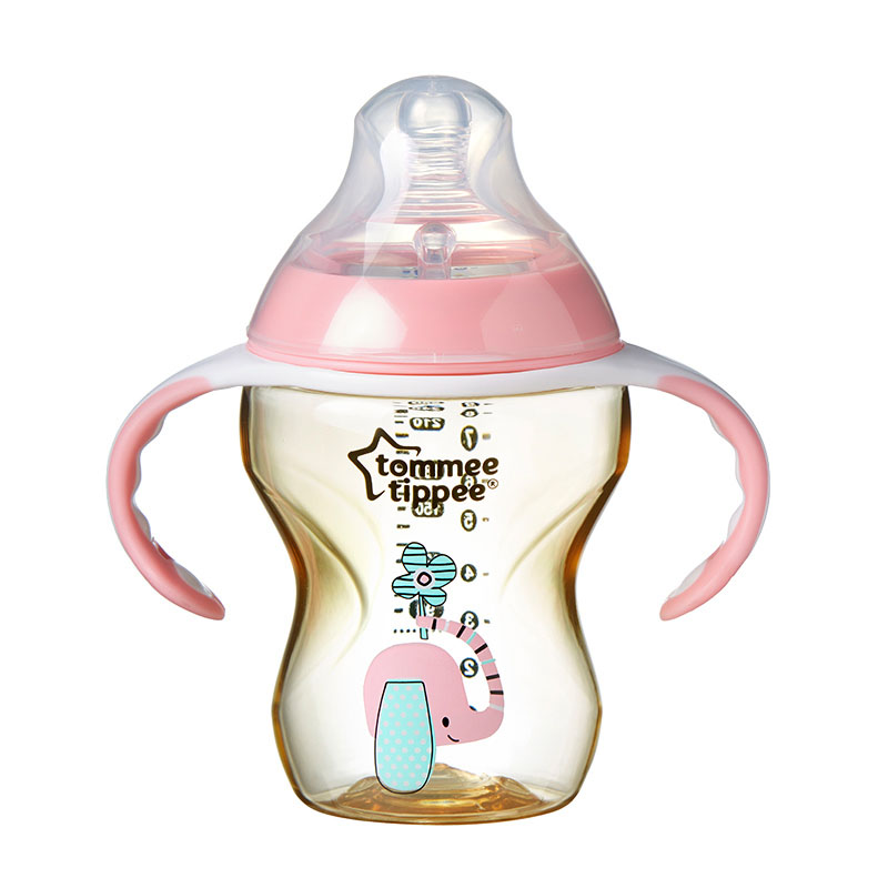 汤美星(TommeeTippee)--260毫升PPSU奶瓶粉色(配手柄和中流量奶嘴)3个月以上(0-36月)260ml/支