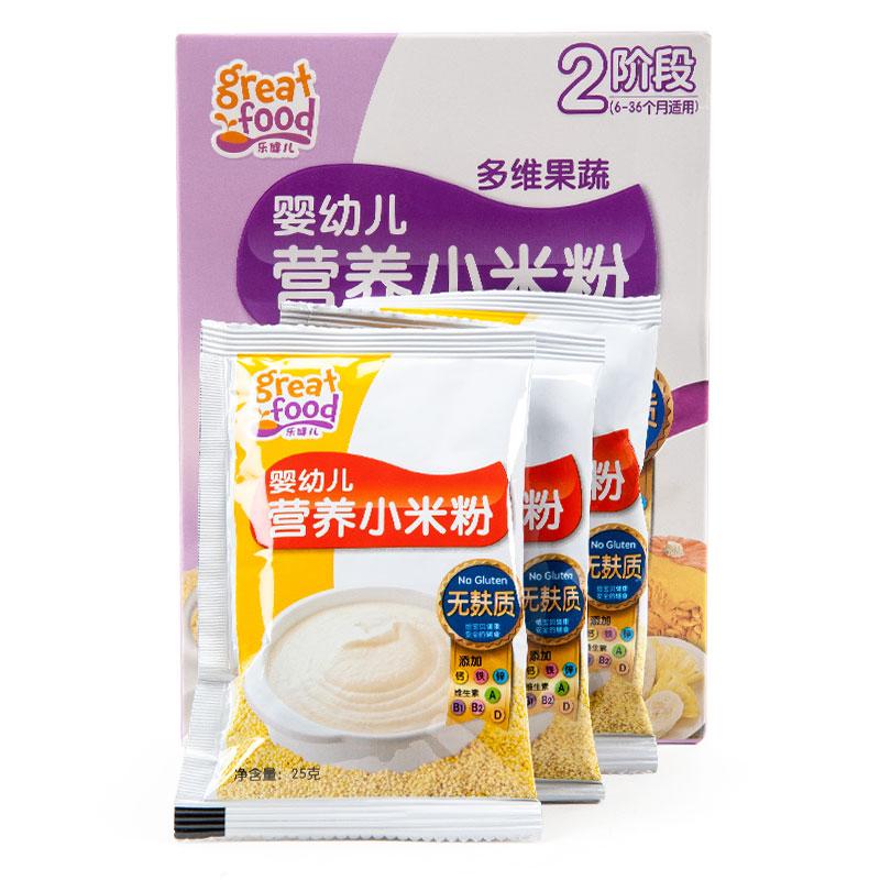 乐健儿GreatFood婴幼儿多维果蔬营养小米粉(无麸质)(6-36月)225克/盒