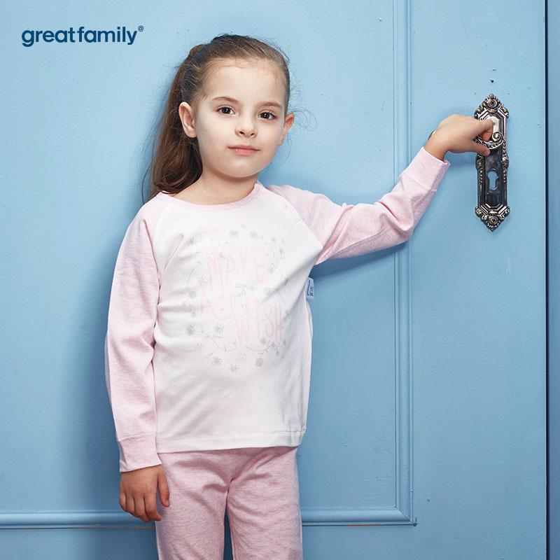 歌瑞家(Greatfamily)A类女童混色花纱印花圆领长袖内衣/家居服