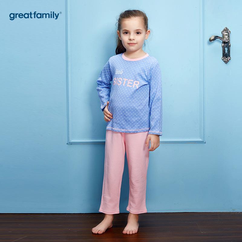 歌瑞家(Greatfamily)A类双面布纯棉女童蓝色波点字母印花上衣粉色裤子圆领套装/家居套装