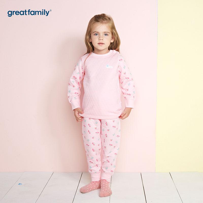 歌瑞家(Greatfamily)A类女童粉色三保暖半高领内衣套装/家居套装