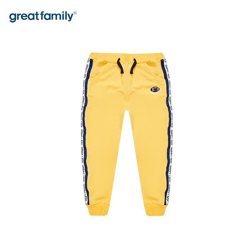 歌瑞家A类毛圈男童黄色针织长裤