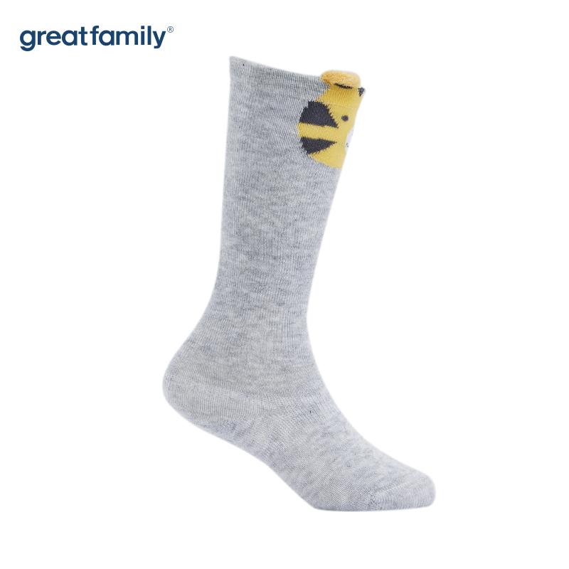 歌瑞家A类灰色卡通老虎男童长筒袜