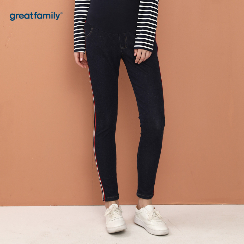 歌瑞家孕外蓝色女韩版牛仔裤