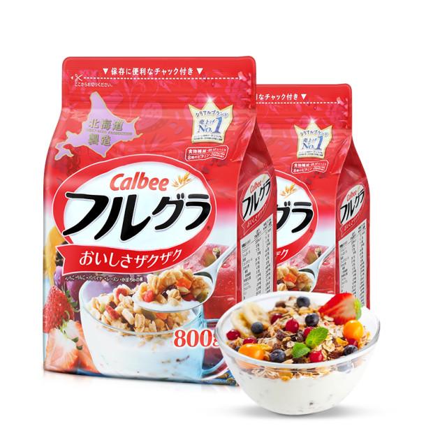 【全球购】日本卡乐比CALBEE水果麦片(北海道产)800g*2包保税区直发