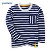 歌瑞家(Greatfamily)A类男童可爱精灵纯棉蓝白条纹长袖T恤